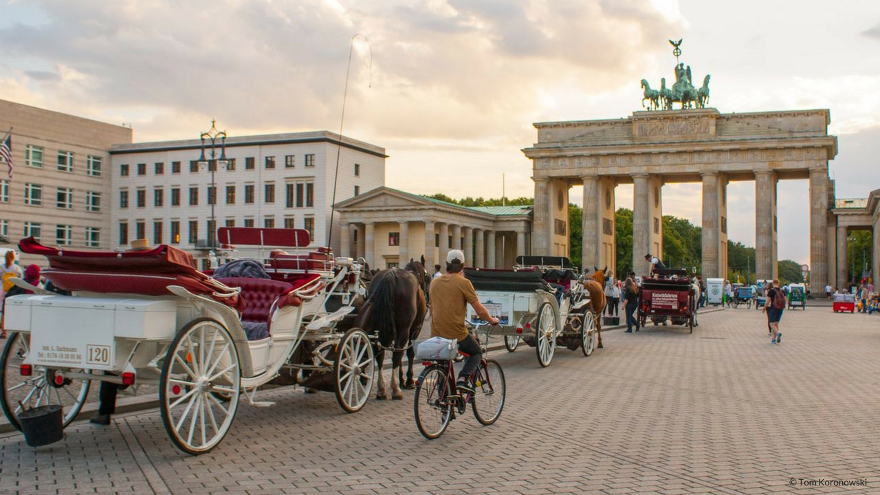 The Brandenburg Gate in Berlin is the most famous landmark